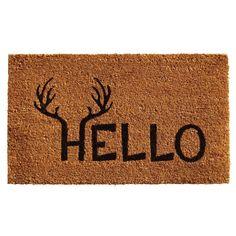 Momentum Mats Antler Hello Coir with Vinyl Backing Doormat (1'5 x 2'5) (Antler Hello (1'5 x 2'5)), Beige Off-White
