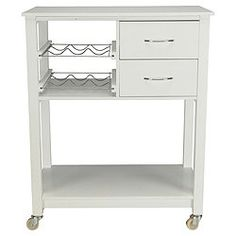 White Kitchen Trolley bamboo top kitchen trolley with bottle racking, white | kitchen