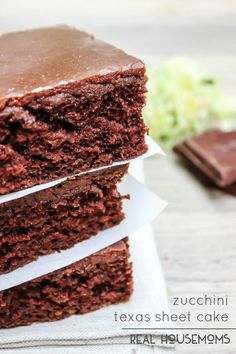 Zucchini Texas Sheet Cake is a crowd pleasing cake with a rich chocolate frosting. I hear everything is bigger in Texas and this cake hits the mark!