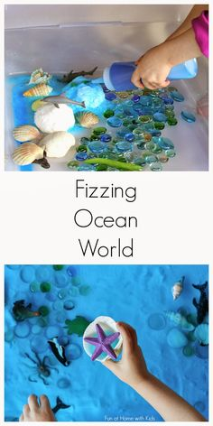 Simple Small Worlds: Fizzing Hidden Ocean World from Fun at Home with Kids - This looks like fun.a hassle.but fun. Ocean Activities, Toddler Activities, Preschool Activities, Summer Activities, Nursery Activities, Preschool Curriculum, Preschool Science, Preschool Crafts, Crafts For Kids