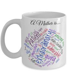 Mom Coffee Mug  A Mother Is...Word Cloud  by MugsAndMoreGifts