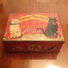 "Very rare cat tin from France - originally held chocolate ""cat tongues""."