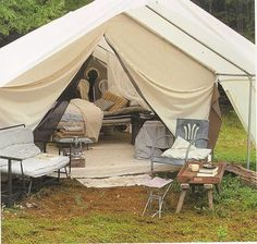 Tent bedrooms - now THIS is the kind of camping I can get behind. #camping #tent #bedroom