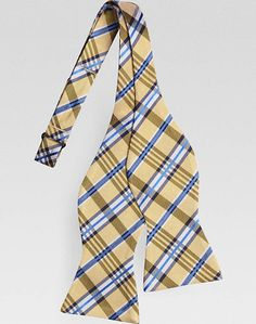 Tommy Hilfiger Yellow Plaid Bow Tie | Men's Wearhouse