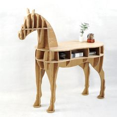 Original design Luxury European DIY side desk Arts Crafts Home Decoration wooden horse simulation wood furniture coffee table