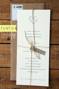 Rustic Wedding Invites by Dawn Correspondence | Emmaline Bride just use ribbin instead of twine