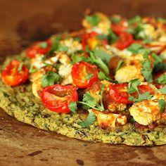 Vegan Richa: Chickpea Quinoa Chard Pizza topped with Roasted Cauliflower and grape tomatoes. vegan glutenfree nutfree
