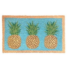 Enhance your entry with this Glitter Pineapples Coir Door Mat. Durable coir design absorbs moisture and scrapes dirt off the bottom of shoes to protect your floors. It showcases colorful imagery of 3 pineapples for a festive look. Rubber Door Mat, Pineapple Kitchen, Dynamic Rugs, Stained Glass Flowers, Coir Doormat, Painted Cottage, White Doves, Pink And White Flowers