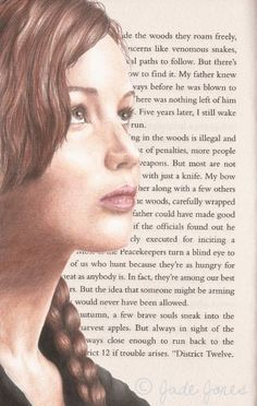 Hunger Games Fan Art / Katniss looks so thoughtful here, and I love the idea of book page backgrounds.