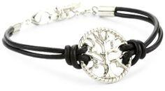 Ettika Silver Colored Tree of Life Black Leather Bracelet Ettika. $50.00