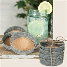 Use Mason Jar lids for Coasters!