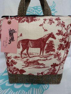 Handmade Handbag Toile De Jouy Linen Horse Hare Makeup Bag Harris Tweed Tote Red in Clothes, Shoes & Accessories, Women's Handbags | eBay