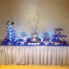 Wedding candy table LOVE THE CAKE POPS! and wintery branches