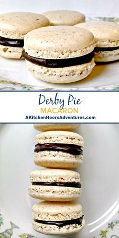 My favorite pie turned macaron. I love how the pecans smell when these Derby Pie Macaron come out of the oven. #NationalPecanDay via @akitchenhoor