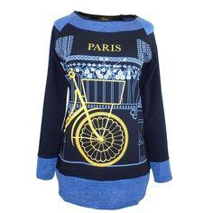 Camiseta mujer manga larga estampado bicicleta