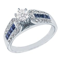 Round Diamond Vintage Engagement Ring Horse shoe setting with blue sapphires & diamond accents