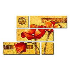 Hand-painted Floral Oil Painting with Stretched Frame - Set of 5 - Wall Art Ideas