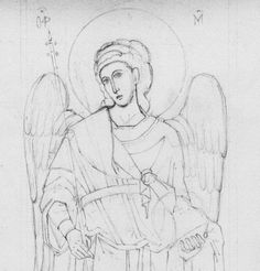 pencil drawing of angel of Chora