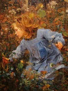 Jules Bastien-Lepage, Woodgatherer c1881. Lepage is in my top five artists for sure. His detail and color is #painting art #painting| http://painting-art-elisha.blogspot.com