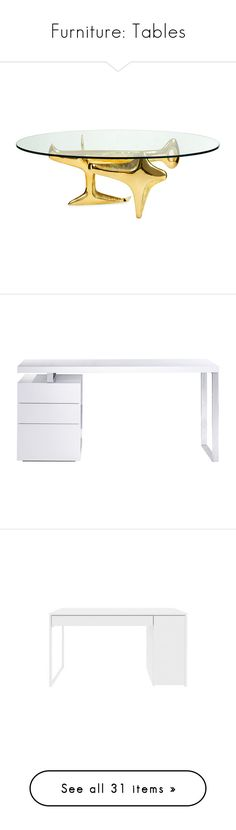 """""""Furniture: Tables"""" by alainasantos ❤ liked on Polyvore featuring home, furniture, tables, accent tables, table, gold, jonathan adler coffee table, jonathan adler furniture, jonathan adler and polish furniture"""