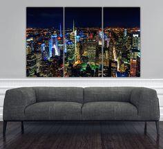New York City At Night Canvas Art Brite Lights Photo Decor Ny