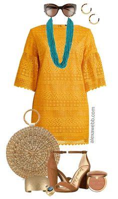 Plus Size Mustard Dress Outfit - Plus Size Fashion for Women - alexawebb.com #alexawebb #plussize