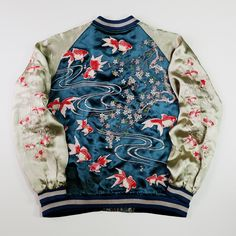 Vintage Reversible Japanese Japan Tattoo Art Kingyo Gold Fish Sakura Cherry Blossoms Flower Floral Embroidery Embroidered Bomber Sukajan Souvenir Jacket - Japan Lover Me Store