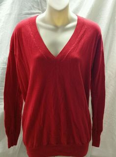GAP Women's  Red V-neck Long Sleeve Sweater Size S #OldNavy #VNeck
