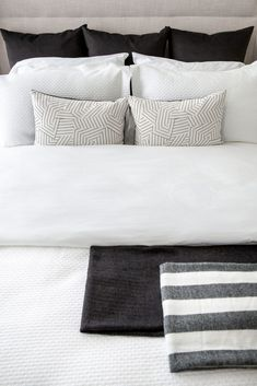 A stylish master retreat by professional interior designer, Natalie Fuglestveit Interior Design Custom Bedding, Linen Bedding, Master Bedrooms, Modern Bedroom, How To Make Pillows, Crate And Barrel, Drapery, Bed Pillows, Armchair