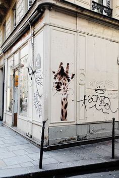 Giraffes in Paris. Apparently, there have been giraffes popping up all over Paris. Along with other animals... can be found here http://animaux.dans.les.rues.de.paris.over-blog.com/
