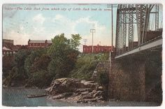 The Little Rock from which the city of Little Rock took it's name!  antique postcard, postmarked 1908