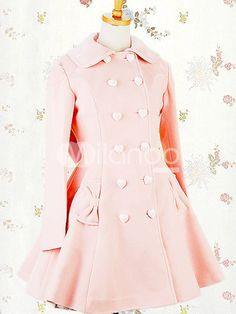 Pink Double Breasted Bow Pocket Cashmere Polyester Lolita Coat - Milanoo.com