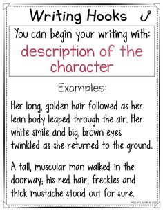 These writing hooks anchor charts are helpful with providing a variety of ways to hook their reader! Writing tips for beginners Creative Writing Tips, Book Writing Tips, Writing Promps, Writing Strategies, Writing Words, Writing Lessons, Writing Resources, Teaching Writing, Kindergarten Writing