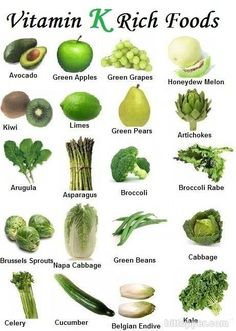 I never realised how much green fruit and veg I ate! :( ~ List of Fruits and Vegetables: Health Benefits and Pictures. Warfarin (Coumadin) users, known your Vitamin K intake Healthy Tips, Healthy Eating, Healthy Recipes, Healthy Foods, Stay Healthy, Easy Recipes, Gout Recipes, Healthy Protein, Healthy Fruits