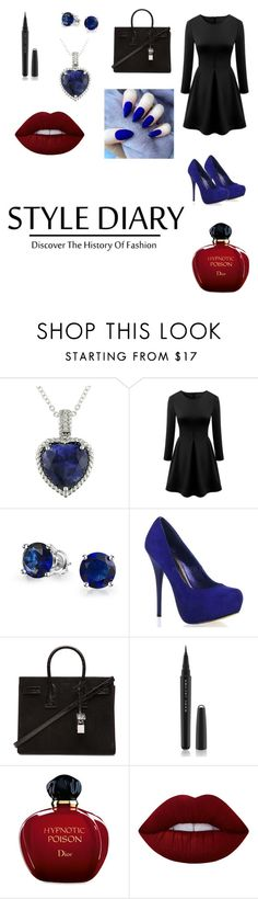 """""""The blue ocean heart"""" by ulyte0308 on Polyvore featuring Ice, Bling Jewelry, Yves Saint Laurent, Marc Jacobs, Christian Dior, Lime Crime, women's clothing, women, female and woman"""