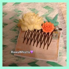 Beautiful hand-made hair comb❤️ Visit my shop...https://www.facebook.com/pages/PennyWhistle-Handcrafted-Vintage-Stamped-jewelry-accessories/189228934535729?ref=bookmarks