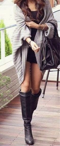 see more Gray Cardigan with Black Mini Dress, Long Boots Accessories and Handbag, Looks Very Chic