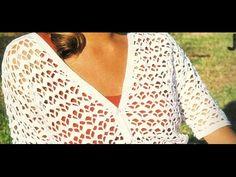 Saco blanco manga corta punto calado a crochet - YouTube