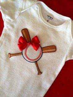 Cute baby girl gift fashion Baseball onesie with red bow Different size onesies available Great for Photos