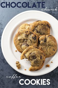 Chocolate Chunk Coffee Cookies - Chocolate chunk cookies taken to a whole new level with instant coffee.