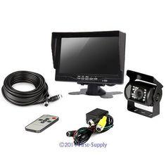 """12-24V 4pin CCD Camera + 7"""" Sunshade LCD Monitor + 10m Cable Vans Horse Trailer"""