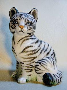 Fenton Glass White Tiger Cat Kitten Cub Exotic and Beautiful OOAK by CC Hardman
