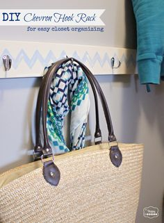 DIY Chevron Hook Rack for easy closet organizing at The Happy Housie
