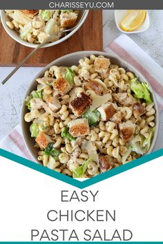 This Chicken Caesar Pasta Salad is cool, fresh, and ready in under 30 minutes! Great for BBQs and picnics! Pasta Recipes For Kids, Pasta Salad Recipes, Chicken Caesar Pasta Salad, Party Dishes, Mushroom Pasta, How To Cook Pasta, Picnics, Kids Meals, Picnic