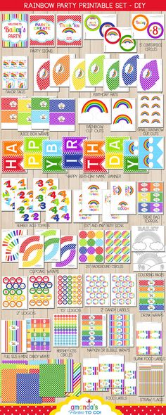 Rainbow Party Printable -Huge Party Set by Amanda's Parties TO GO