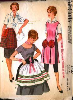 McCall's 2407 circa 1960 international aprons: Scottish kilt, German dirndl, & Chinese fan pockets