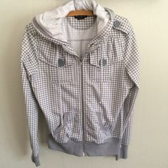 Grey Checkered Hoodie Grey and white checkered hoodie. Never worn from smoke free home. Tag says XL but fits more like a medium. Miss Chievous Tops Sweatshirts & Hoodies