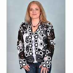 Irish Lace / Black-and-White Cardigan (short) XL (52) Unique, crocheted by hand!