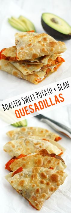 Make these crispy, melty, and delicious quesadillas for lunch today! Roasted sweet potatoes and beans make a healthy and tasty filling.