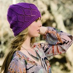 "The pattern designer, Teresa stated: ""Calamus is a lacy and light slouchy hat, inspired by the layers of bird wings. Knit with this soft and springy yarn, the delicacy of a bird's feathers comes to life in your knit. Knit Hat For Men, Hat For Man, Baby Hat Patterns, Knitting Patterns, Summer Hats, Winter Hats, Knitted Hats, Crochet Hats, Creative Knitting"